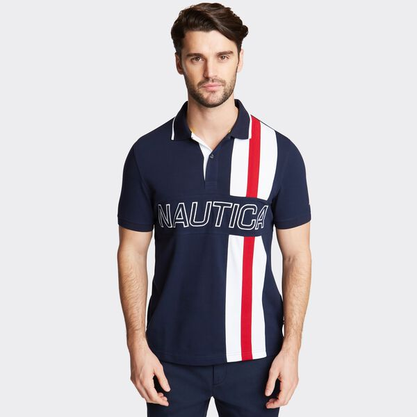SLIM FIT STRETCH POLO IN RACER STRIPE  - Navy