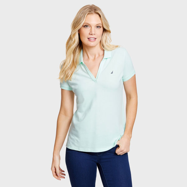 Split-Neck Classic Fit Polo Shirt - Indigo Blue