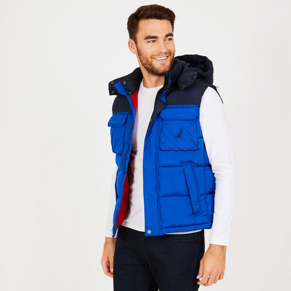 Explorer Hooded Colorblock Vest - Bright Cobalt