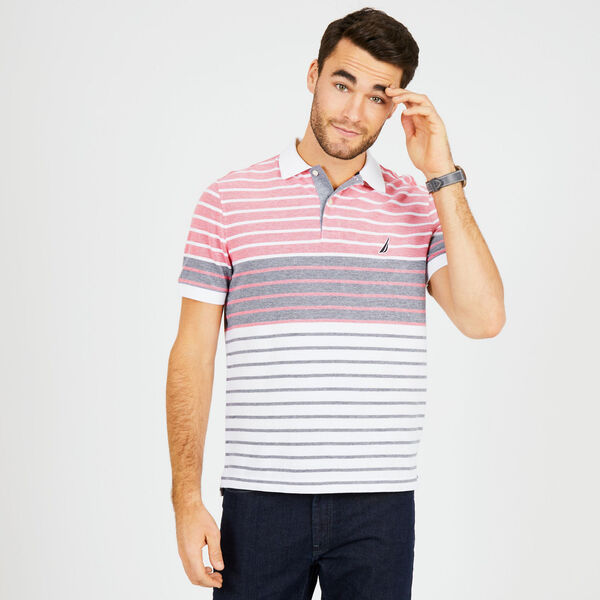 Classic Fit Cotton Polo in Mixed Stripe - True Navy