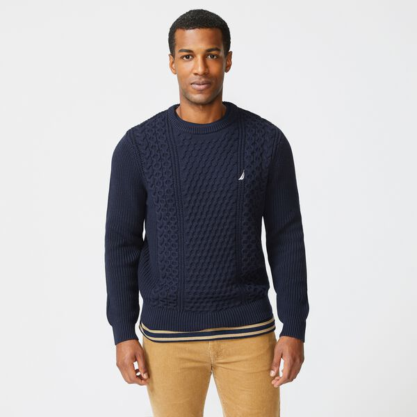 CLASSIC FIT CABLE KNIT SWEATER - Navy