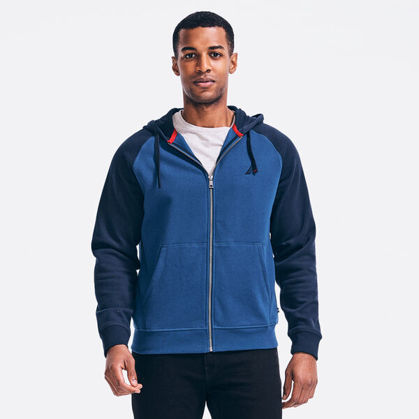 COLORBLOCK FULL-ZIP HOODIE - Estate Blue