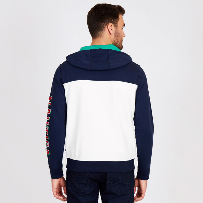 Colorblock Logo Pullover Hoodie,Navy,large