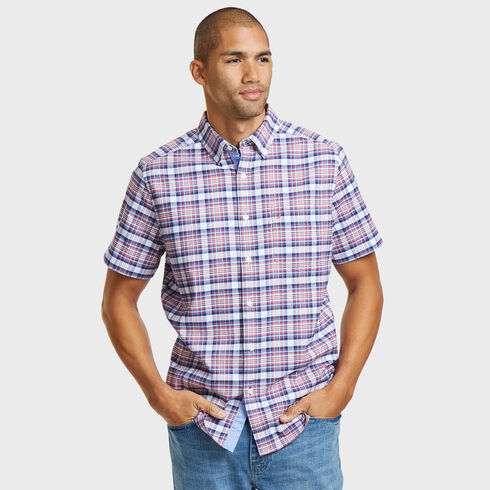 SHORT SLEEVE CLASSIC FIT SHIRT IN OXFORD PLAID - Coral Cape