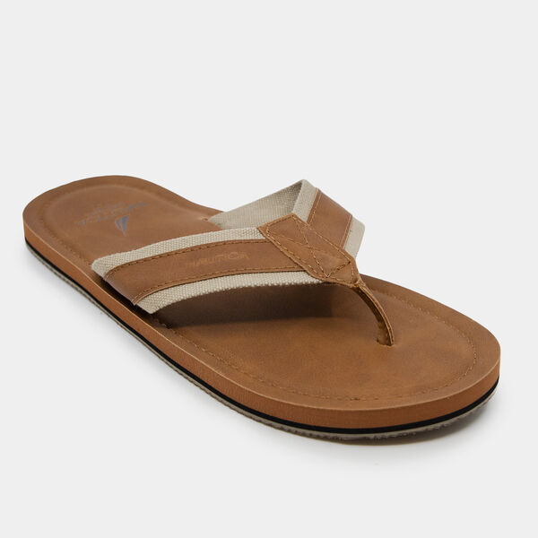 LOGO EMBOSSED THONG SANDALS - Military Tan