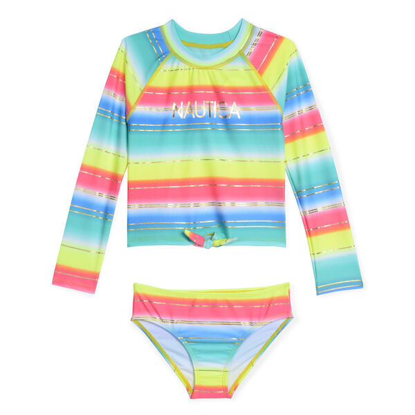 Girls' Rashguard Two-Piece Swimsuit in Multistripe - Butternut