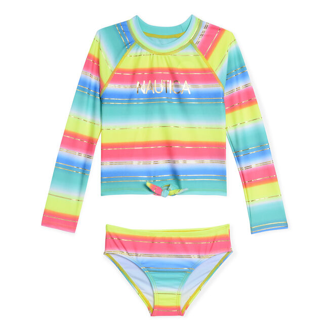 cb989c6279 Girls' Rashguard Two-Piece Swimsuit in Multistripe,Butternut,large