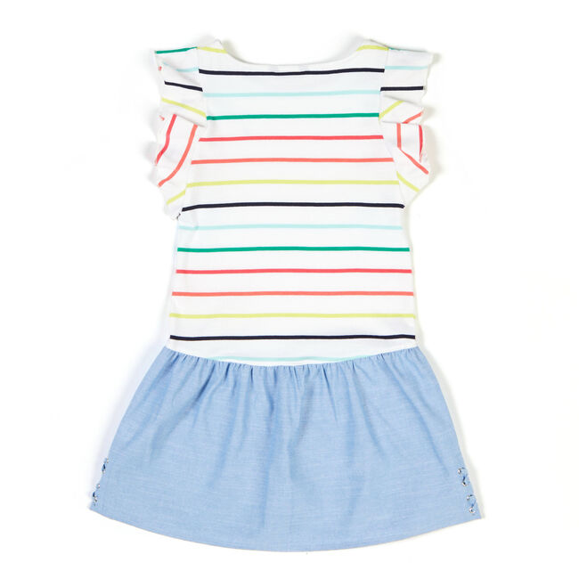 Toddler Girls' Rainbow Stripe Combo Dress (2T-4T),Bright Cobalt,large