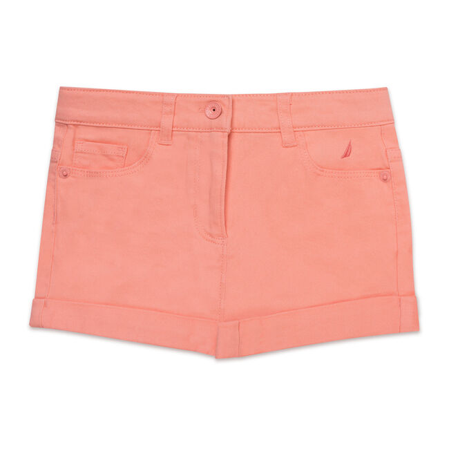 Girls' Stretch Twill Shorts,Salmon,large