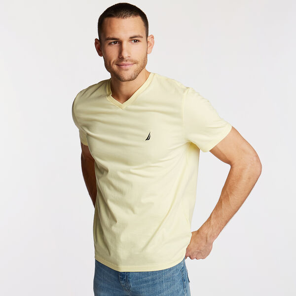 V-NECK SHORT SLEEVE T-SHIRT - French Vanilla