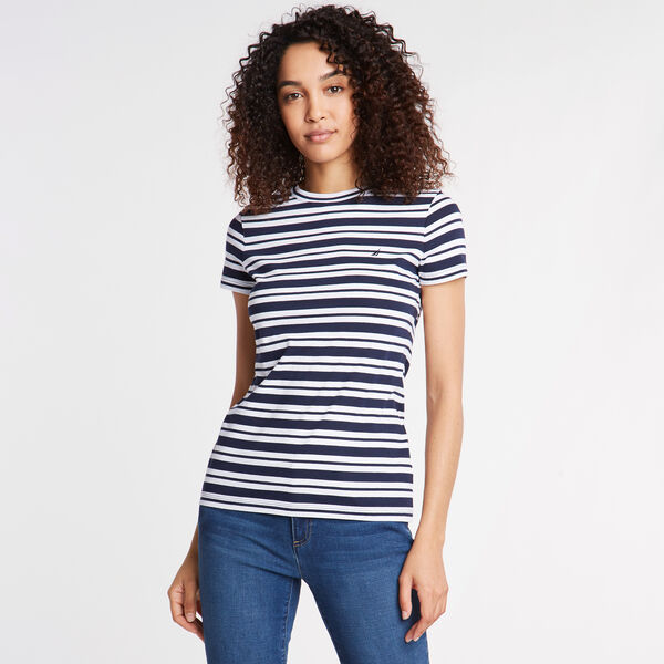 Stripe Short Sleeve Jersey Tee - Deep Sea
