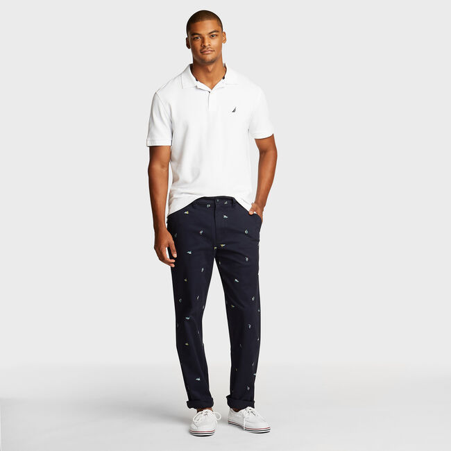 Flat Front Twill Deck Pant in Icon Motif,Navy,large