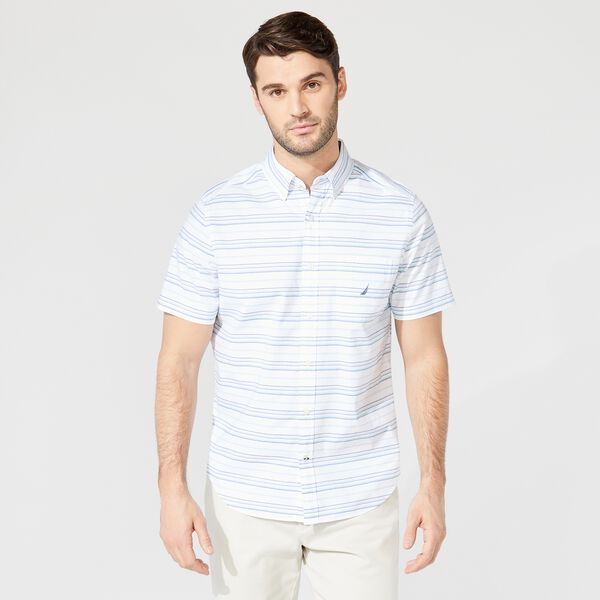 BIG & TALL STRIPED SHORT SLEEVE SHIRT - Bright White