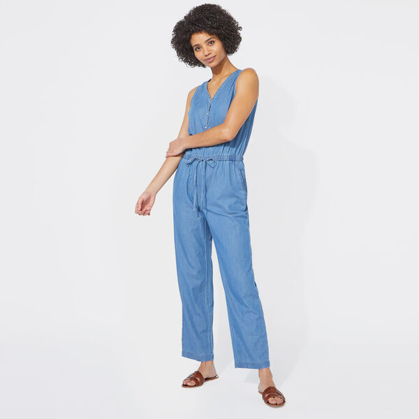 DENIM HENLEY JUMPSUIT - Deep Navy Heather