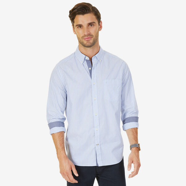 Long Sleeve Striped Stretch Classic Fit Shirt - Sport Navy