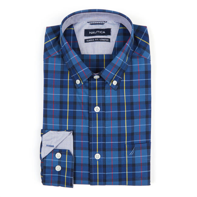 Long Sleeve Classic Fit Plaid Wrinkle-Resistant Shirt,Ensign Blue,large
