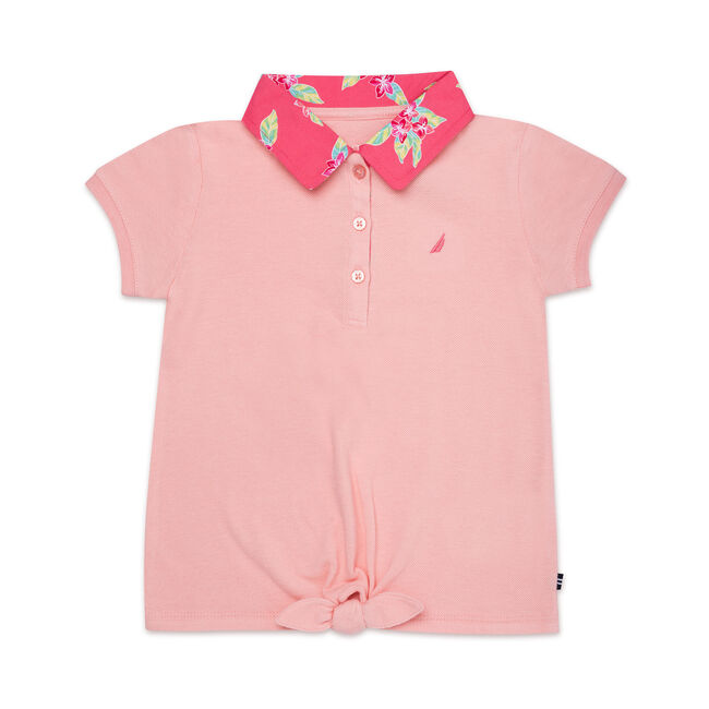 Girls' Short Sleeve Tie Front Polo (7-16),Light Pink,large