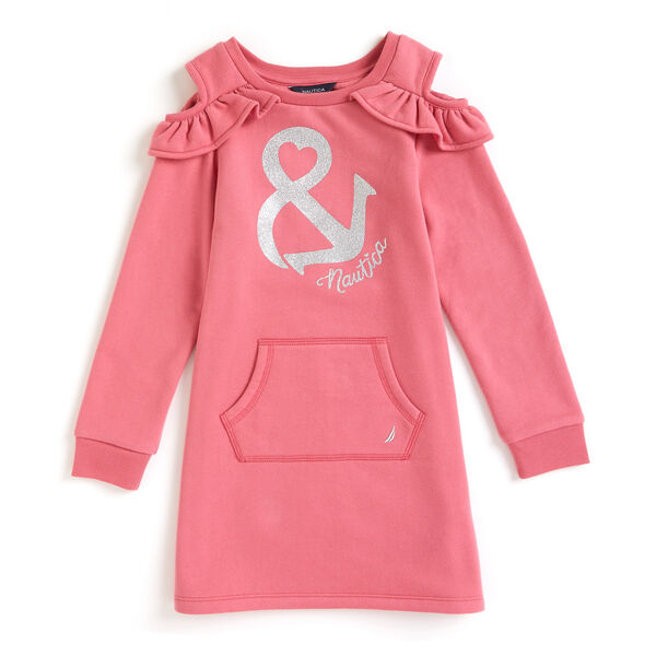 Little Girls' Anchor Ampersand Sweatshirt Dress (4-6X) - Pomegranate