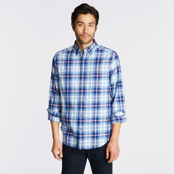 CLASSIC FIT BRUSHED TWILL SHIRT IN BLUE PLAID - Riviera Blue