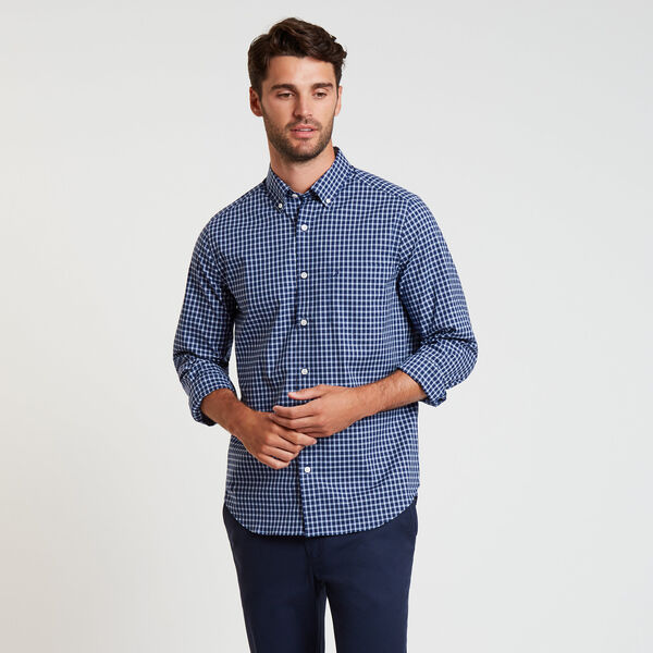 Wrinkle-Resistant Poplin Shirt in Plaid - J Navy