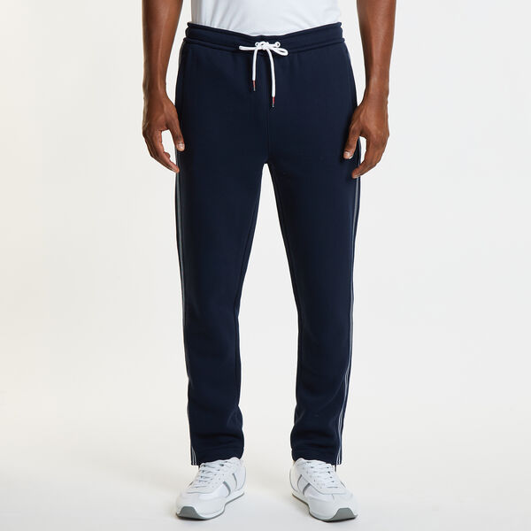 STRIPED ANKLE ZIP ACTIVE PANTS - Navy