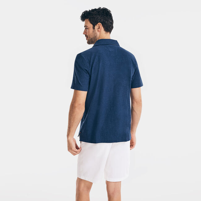 CLASSIC FIT CHEST-STRIPE POLO,Sapphire/Pitch Yellow,large