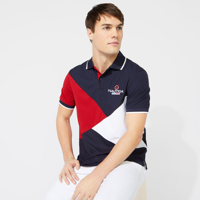 CLASSIC FIT DIAGONAL COLORBLOCK POLO,Navy,large