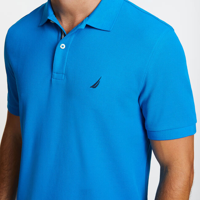 Solid Classic Fit Deck Polo Shirt,Noon Blue,large