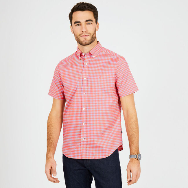 Short Sleeve Check Wrinkle-Resistant Classic Fit Shirt,Spiced Coral,large