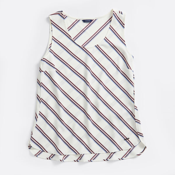 STRIPE WOVEN SLEEVELESS TOP - Marshmallow