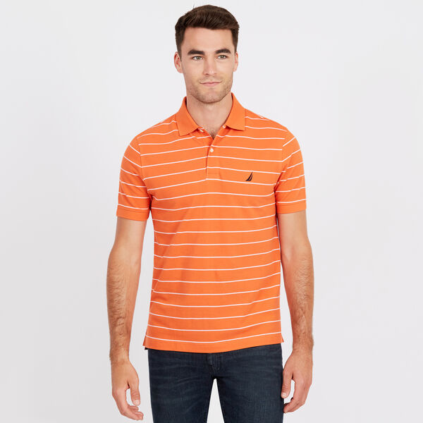Classic Fit Mesh Polo in Breton Stripe - Coral