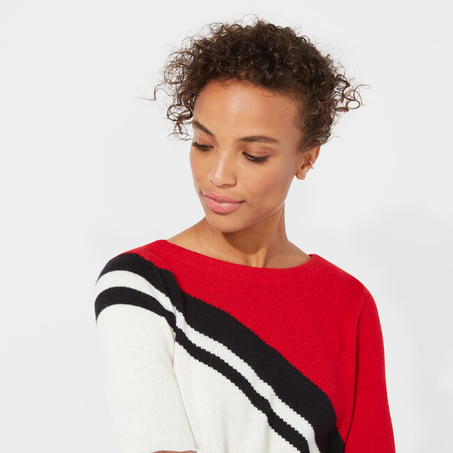 COLORBLOCK BOATNECK SWEATER,Marshmallow,large