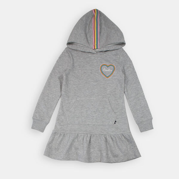 LITTLE GIRLS' FRENCH TERRY HOODED SWEATSHIRT DRESS (4-7) - Grey Heather