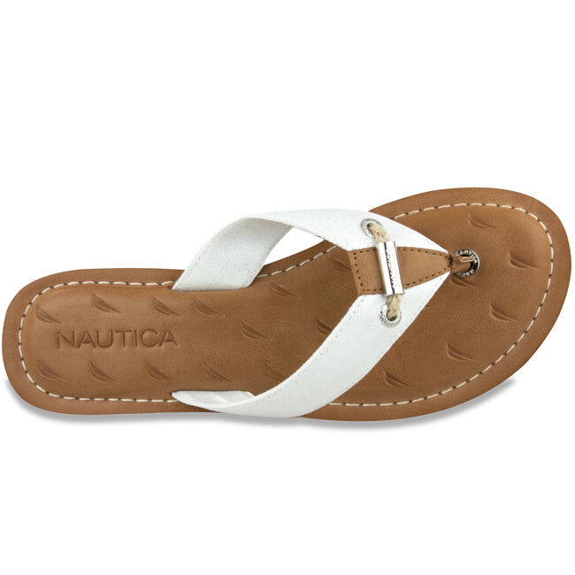 Gulf Breeze Plaque Thong Sandals,Oat,large