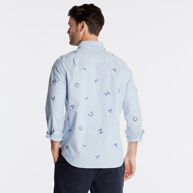 CLASSIC FIT OXFORD SHIRT IN EMBROIDERED LOGO,Riviera Blue,large