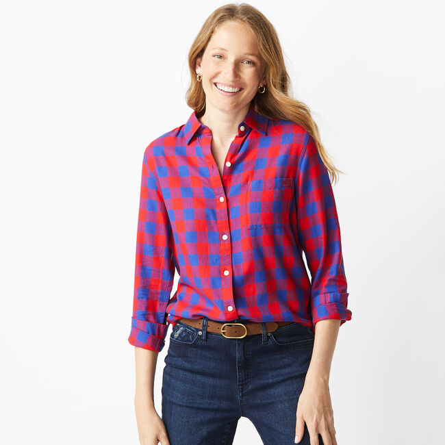 NAUTICA JEANS CO. BUFFALO PLAID BUTTON FRONT BOYFRIEND SHIRT,Tomales Red,large