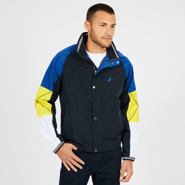 Water Resistant Colorblock Bomber Jacket,True Navy,large