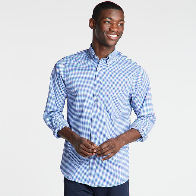Classic Fit Non-Iron Performance Poplin Shirt in Micro Gingham,Ballard Blue,large