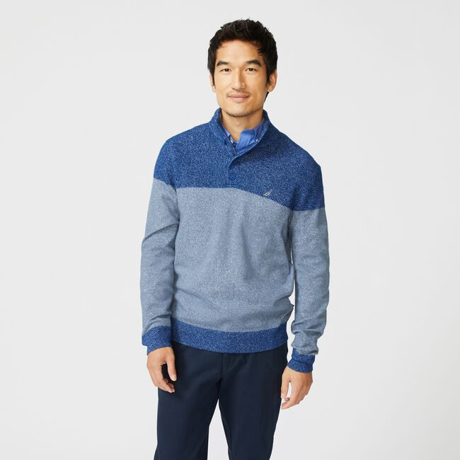 SUSTAINABLY CRAFTED COLORBLOCK SWEATER,Sea Mist,large