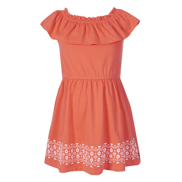 GIRLS' RUFFLED PRINT DRESS (8-20) - Orange Sunset