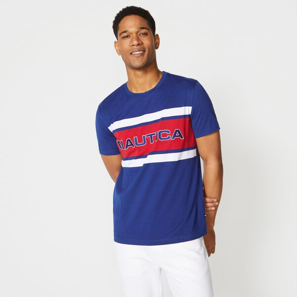 PREMIUM COTTON LOGO GRAPHIC T-SHIRT - Estate Blue