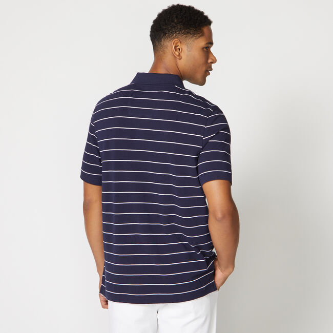 Classic Fit Mesh Polo in Breton Stripe,Navy,large