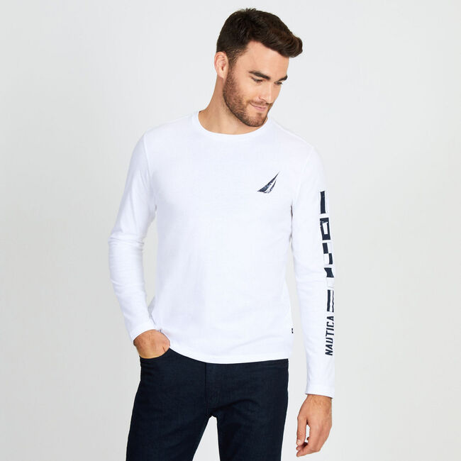 Long Sleeve '83 Trademark Crewneck Tee,Bright White,large