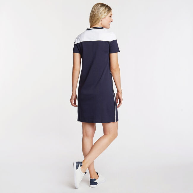 Convertible Colorblock Knit Shirtdress,Stellar Blue Heather,large