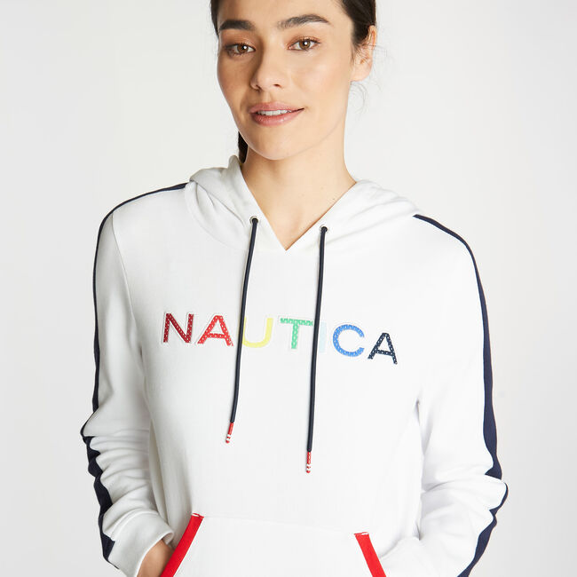 CLASSIC FIT HOODIE IN MESH LOGO,Bright White,large