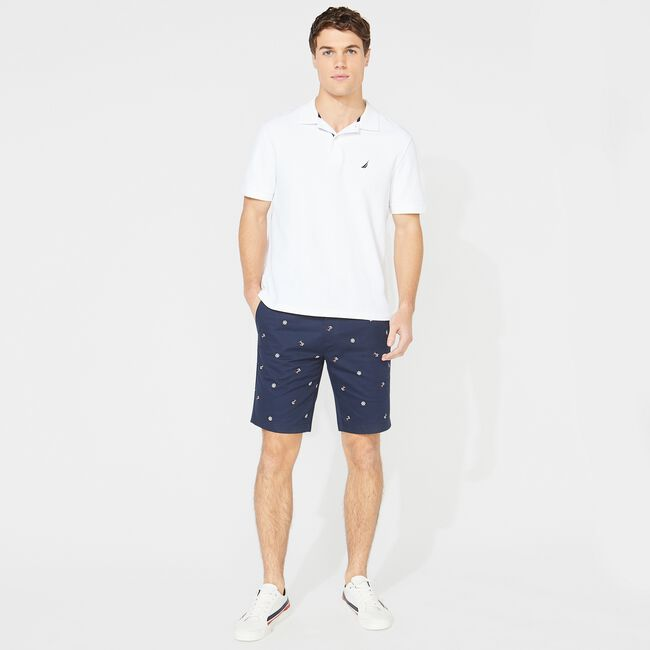 """10"""" SLIM FIT ANCHOR AND SHIP WHEEL PRINT SHORT,True Navy,large"""