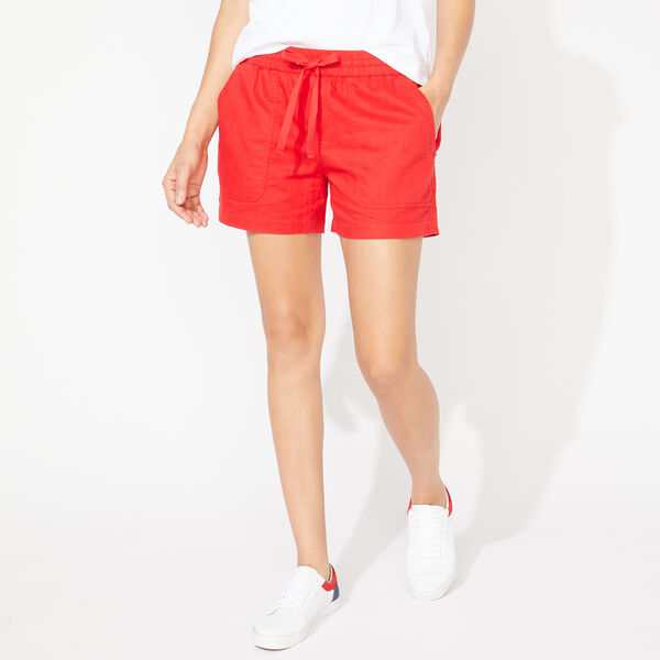LINEN-BLEND SHORTS - Tomales Red