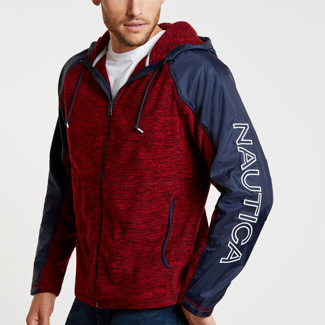 Colorblock Logo Full-Zip Nautex Hoodie,Nautica Red,large