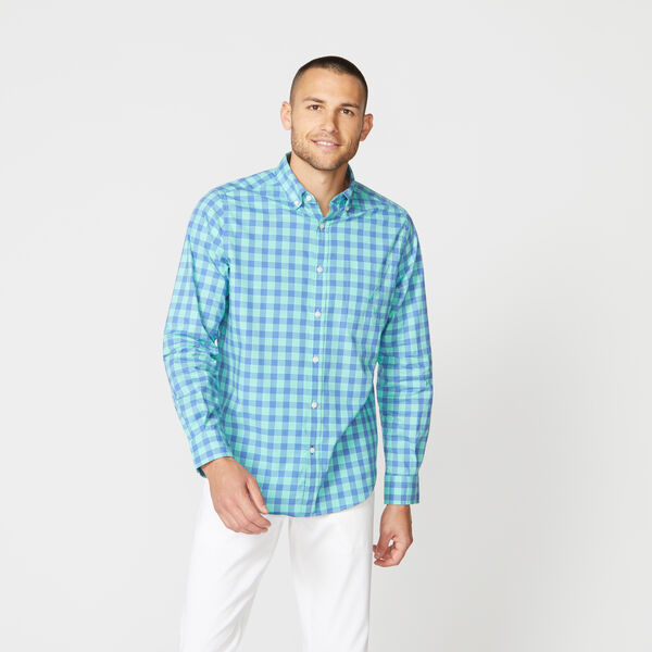 CLASSIC FIT GINGHAM STRETCH POPLIN SHIRT - Mint Spring