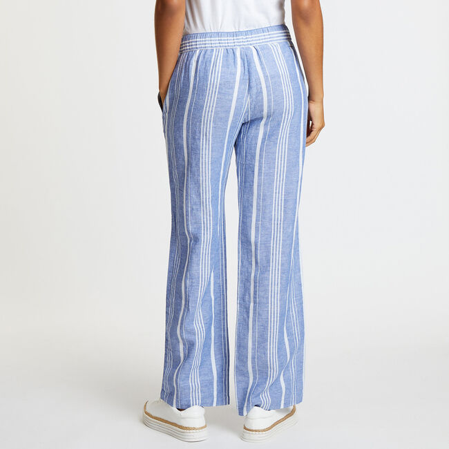 Yarn Dyed Striped Wide Leg Pants,Deep Navy Heather,large